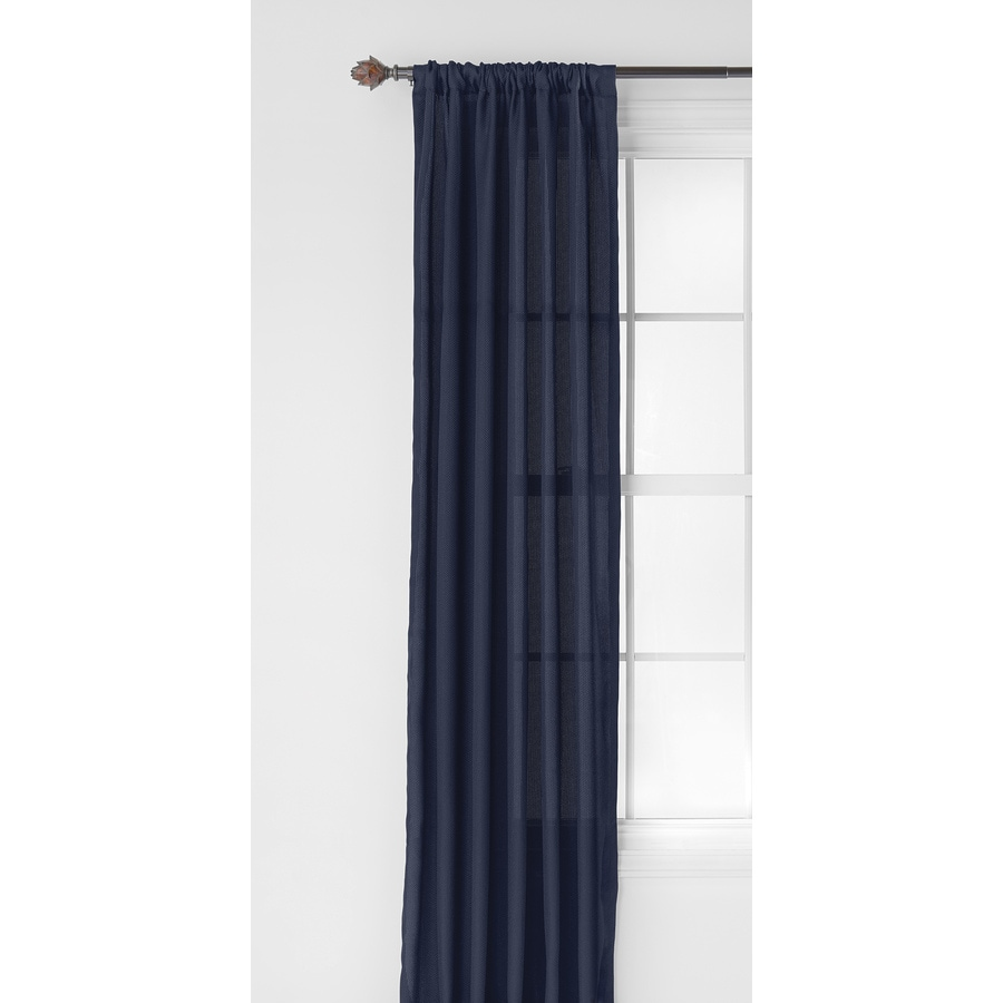 Style Selections Clavell 84-in Blue Polyester Rod Pocket Light Filtering Single Curtain Panel