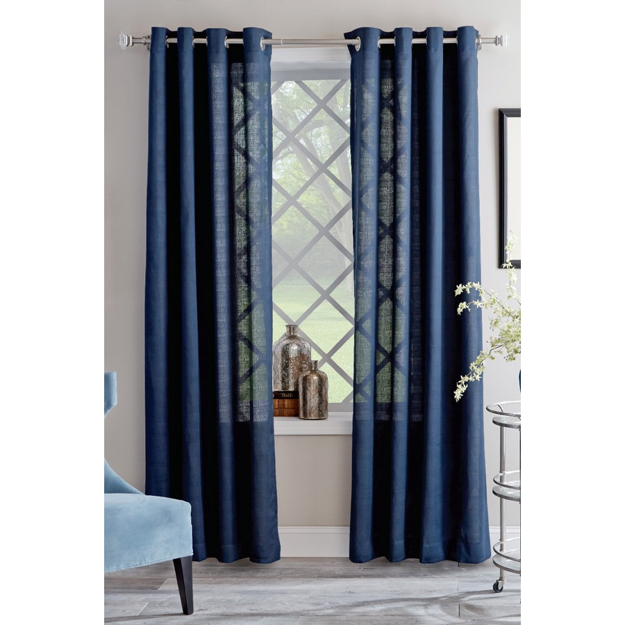 allen + roth Janston 95-in Blue Cotton Grommet Light Filtering Single Curtain Panel