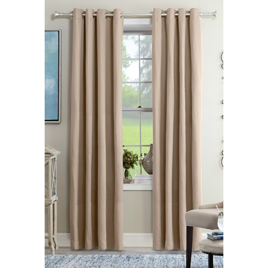 allen + roth Kennerton 84-in Taupe Polyester Grommet Light Filtering Single Curtain Panel