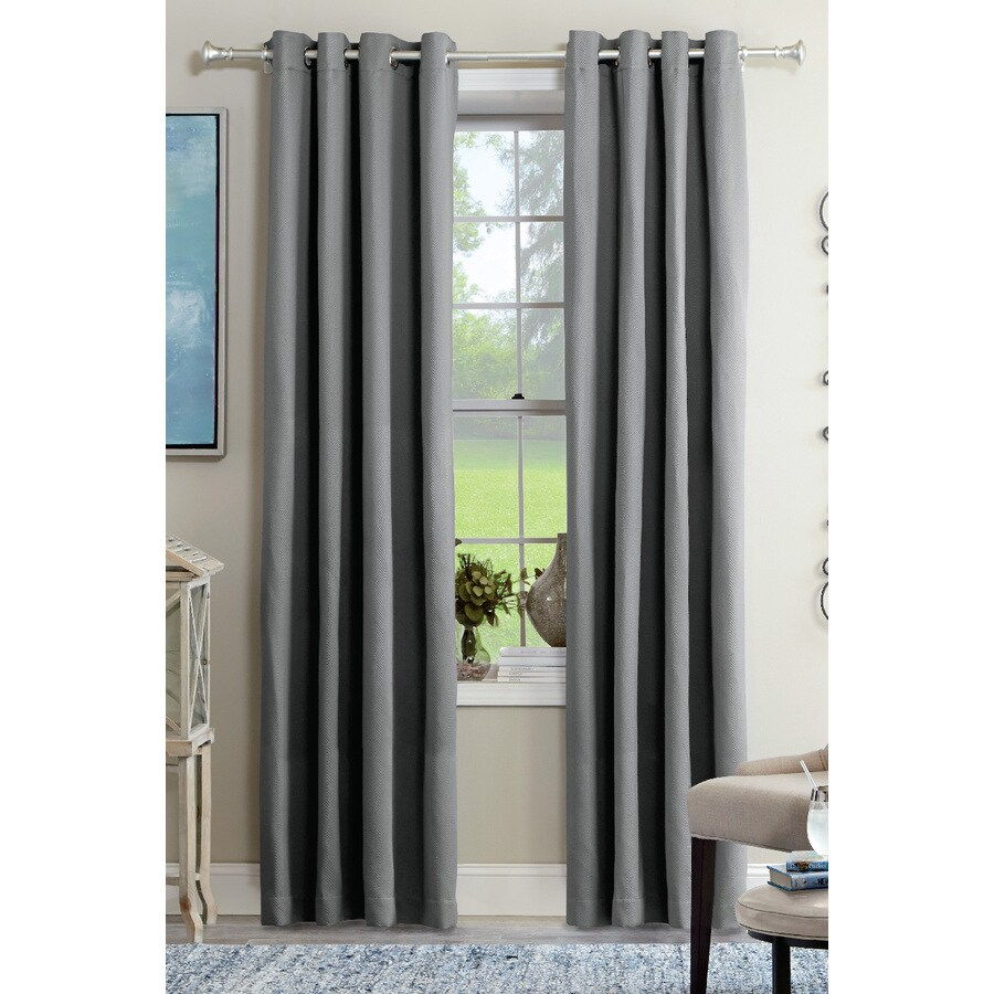 allen + roth Kennerton 95-in Grey Polyester Grommet Light Filtering Single Curtain Panel