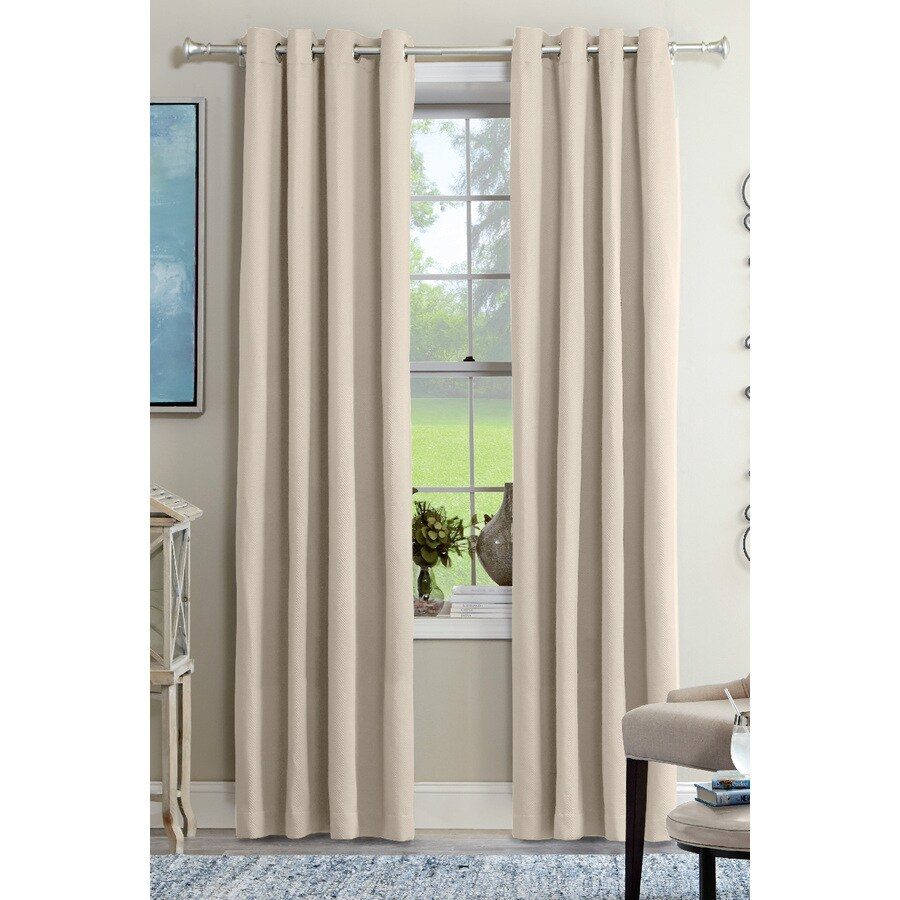allen + roth Kennerton 95-in Ivory Polyester Grommet Light Filtering Single Curtain Panel