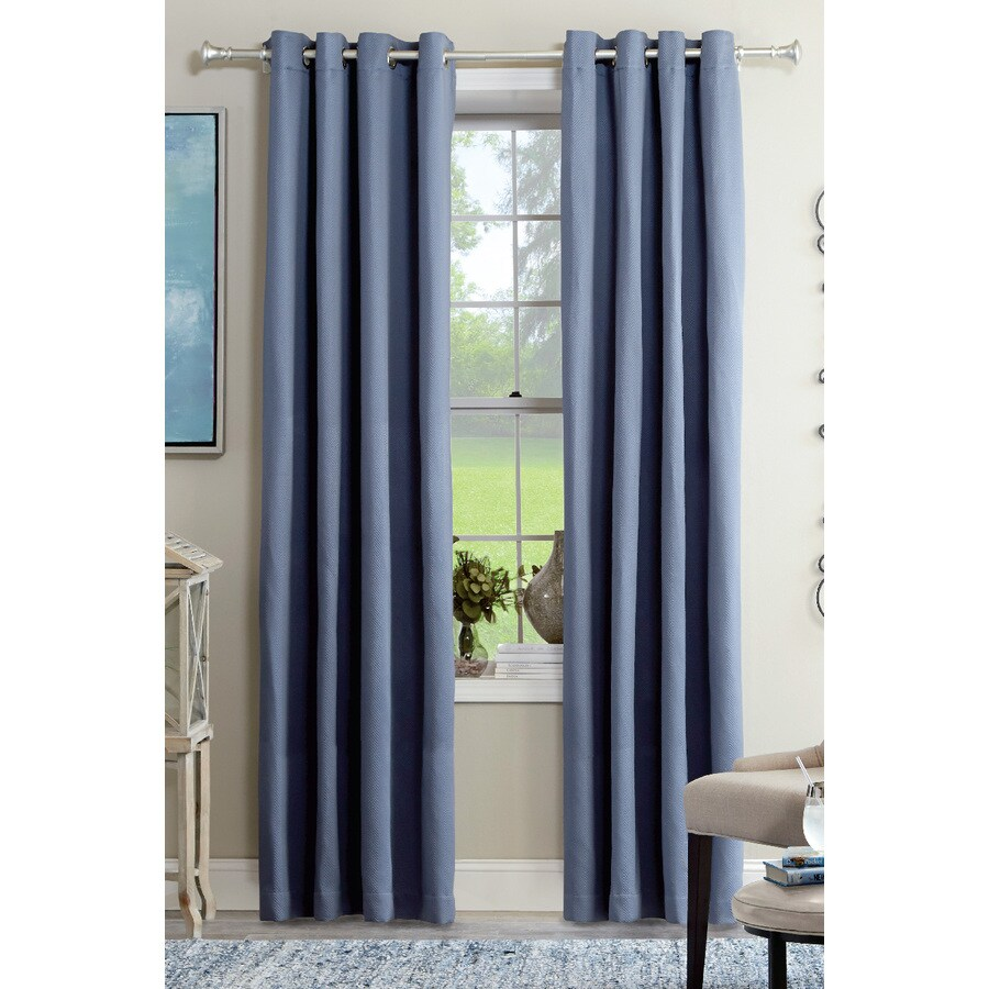allen + roth Kennerton 95-in Blue Polyester Grommet Light Filtering Single Curtain Panel
