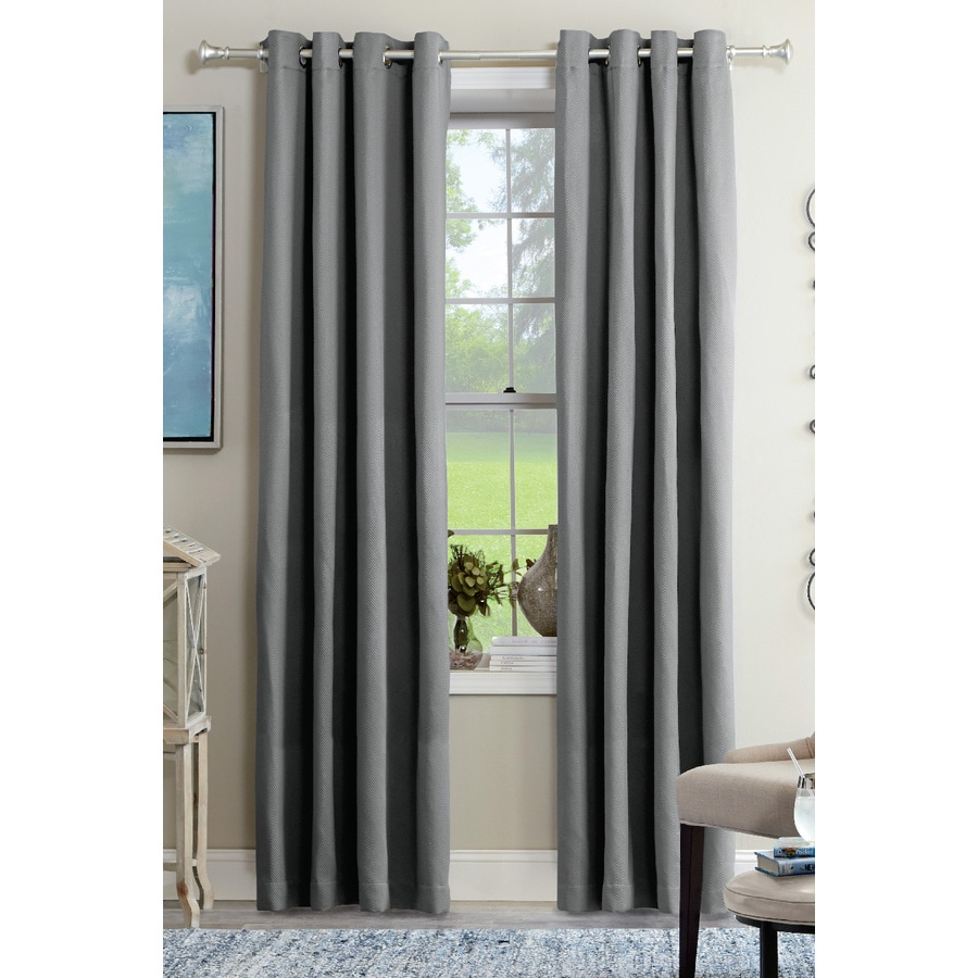 allen + roth Kennerton 63-in Grey Polyester Grommet Light Filtering Single Curtain Panel