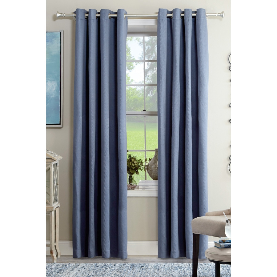 allen + roth Kennerton 63-in Blue Polyester Grommet Light Filtering Single Curtain Panel