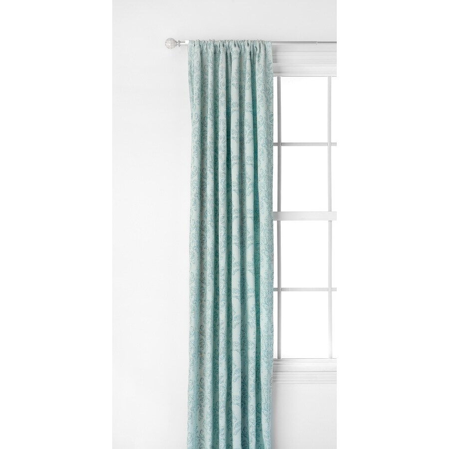 Style Selections Darlton 84-in Blue Polyester Rod Pocket Light Filtering Single Curtain Panel