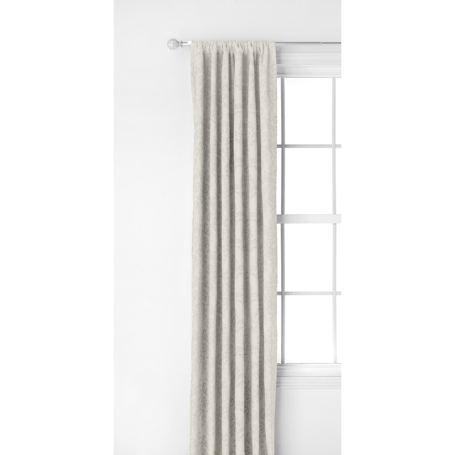 Style Selections Darlton 63-in Ivory Polyester Rod Pocket Light Filtering Single Curtain Panel