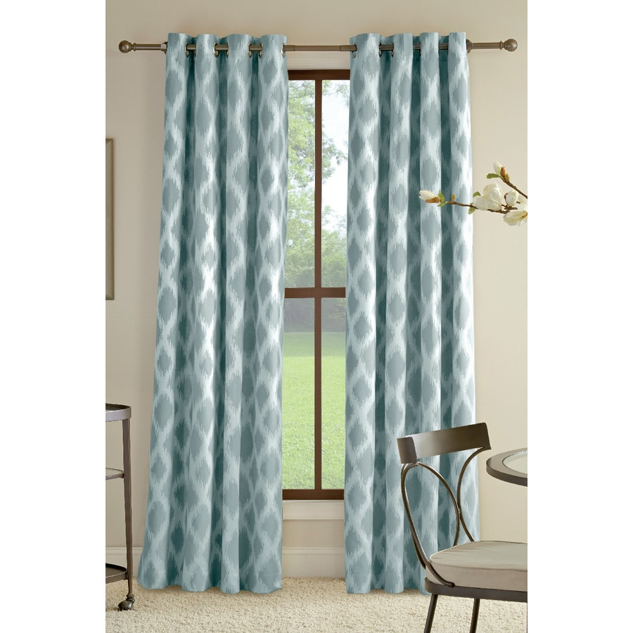 Allen Roth Bookner 84 In Blue Cotton Grommet Light Filtering Single Curtain Panel
