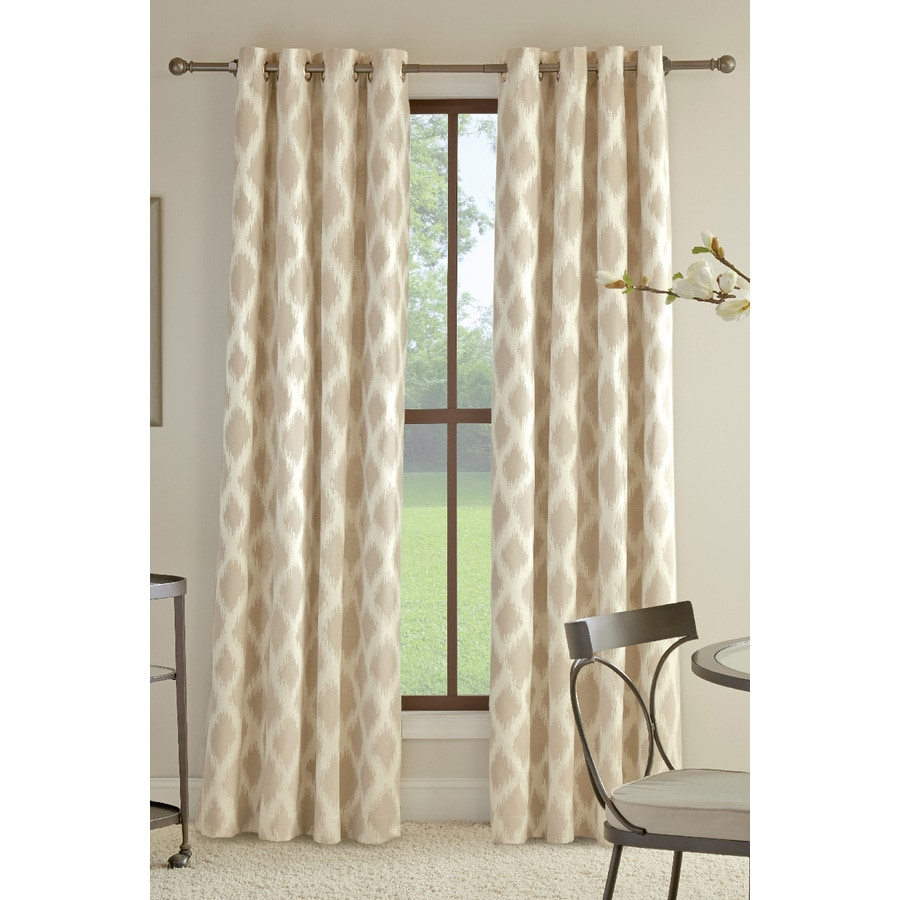 allen + roth Bookner 84-in Taupe Cotton Grommet Light Filtering Single Curtain Panel