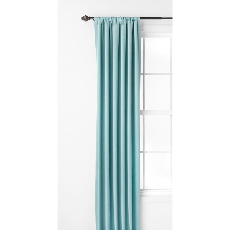 Style Selections Kalesh 84-in Blue Polyester Rod Pocket Room Darkening Single Curtain Panel