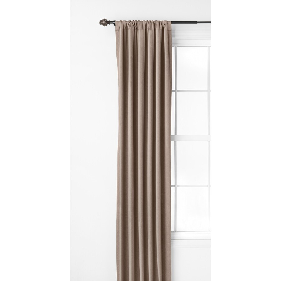 Style Selections Kalesh 84-in Taupe Polyester Rod Pocket Room Darkening Single Curtain Panel