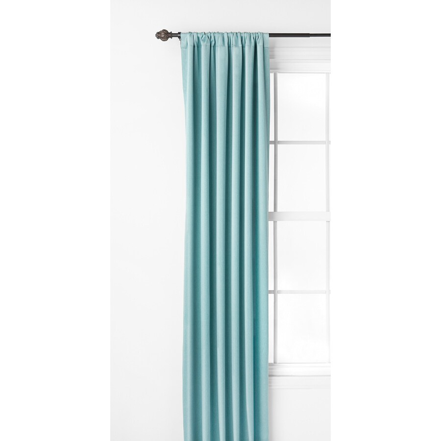 Style Selections Kalesh 63-in Blue Polyester Rod Pocket Room Darkening Thermal Lined Single Curtain Panel