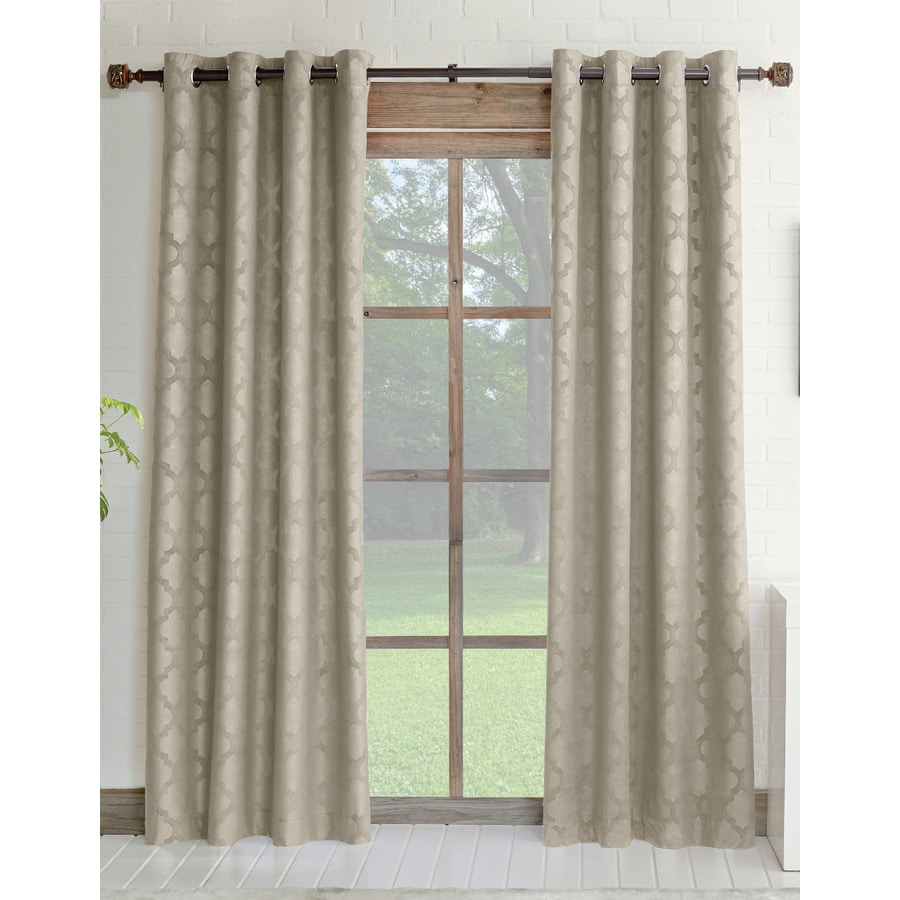 Allen Roth Drenham 84 In Taupe Polyester Grommet Room Darkening Single Curtain Panel