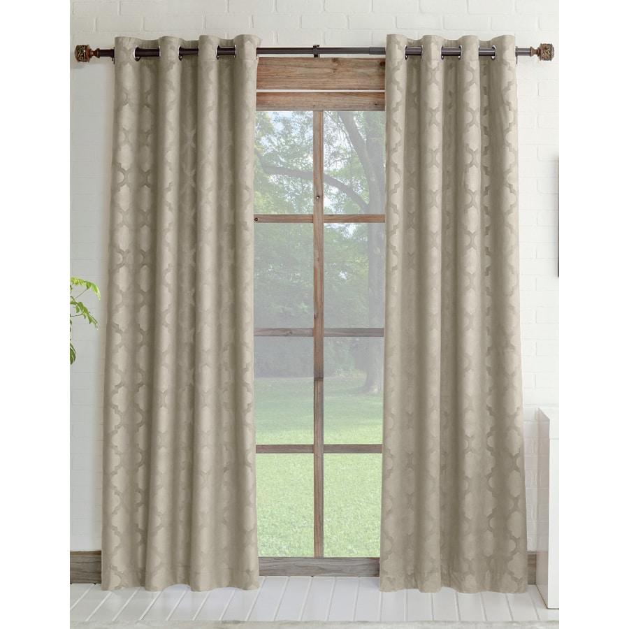 allen + roth Drenham 84-in Taupe Polyester Grommet Room Darkening Single Curtain Panel