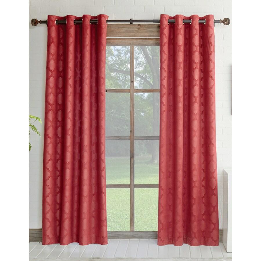 allen + roth Drenham 63-in Red Polyester Rod Pocket Room Darkening Single Curtain Panel