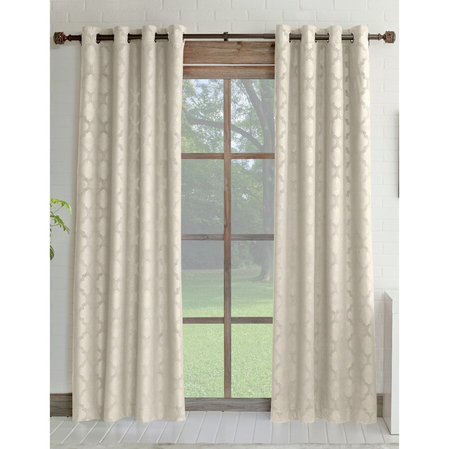 allen + roth Drenham 63-in Ivory Polyester Rod Pocket Room Darkening Single Curtain Panel