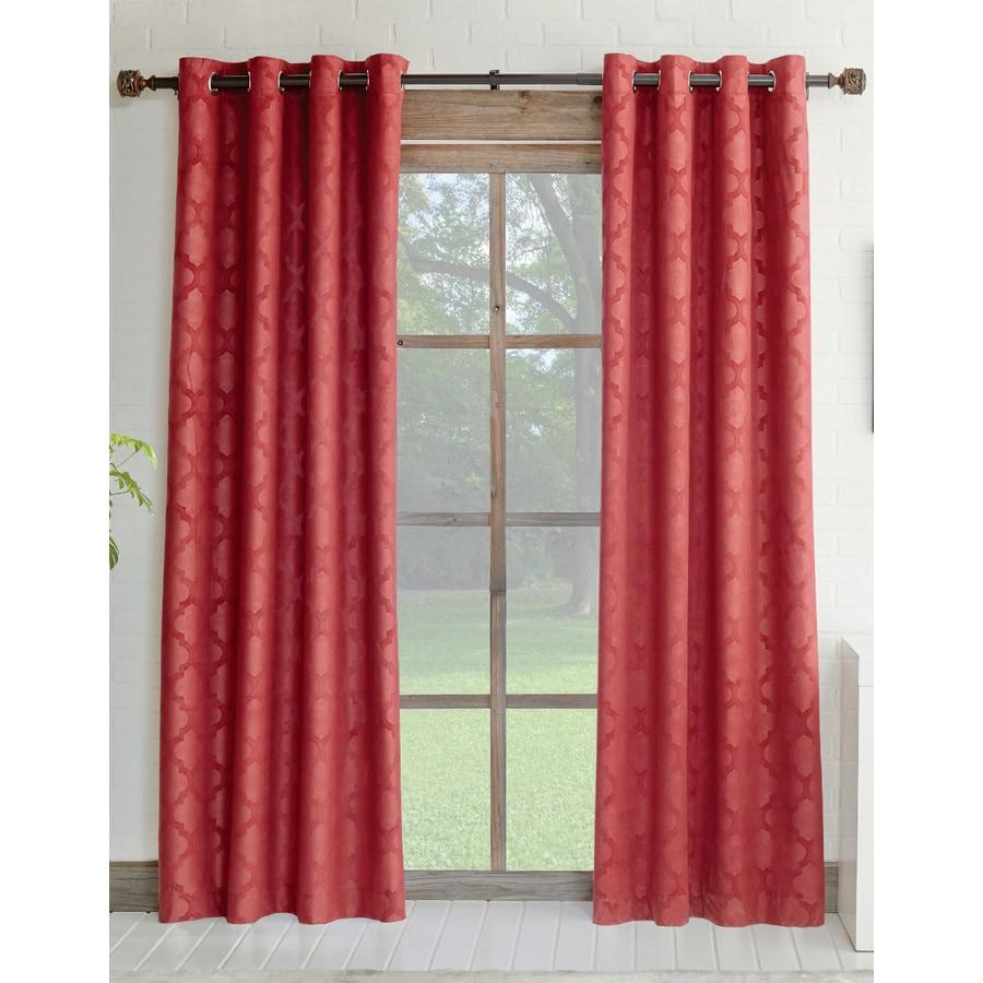 allen + roth Drenham 95-in Red Polyester Rod Pocket Room Darkening Single Curtain Panel