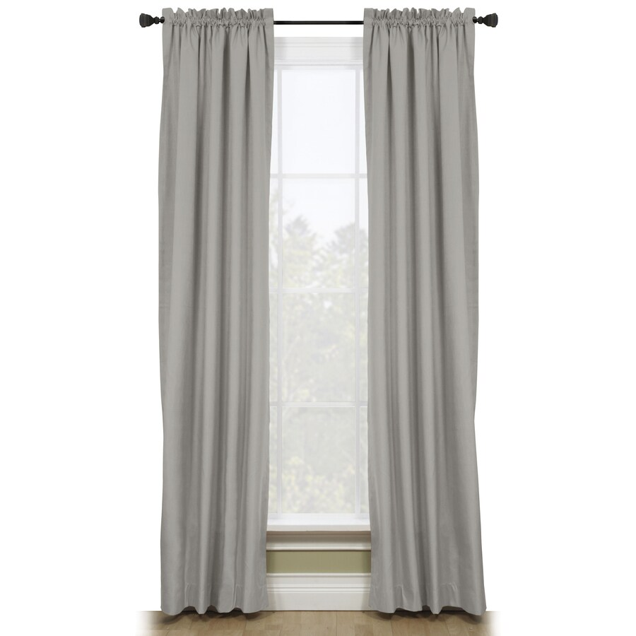 Style Selections Walker 84-in Gray Polyester Rod Pocket Room Darkening Thermal Lined Single Curtain Panel