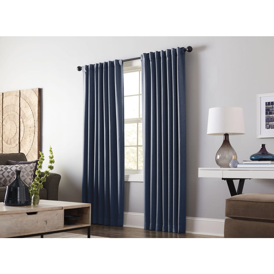 allen + roth Gatton 84-in Indigo Polyester Back Tab Room Darkening Thermal Lined Single Curtain Panel