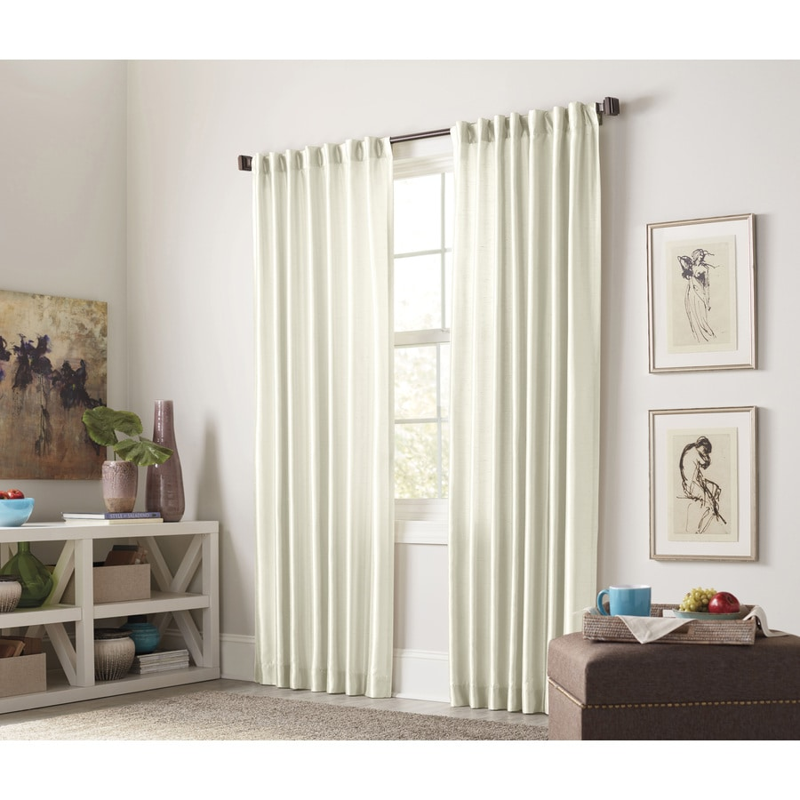allen + roth Glenellen 63-in Ivory Polyester Back Tab Light Filtering Interlined Single Curtain Panel