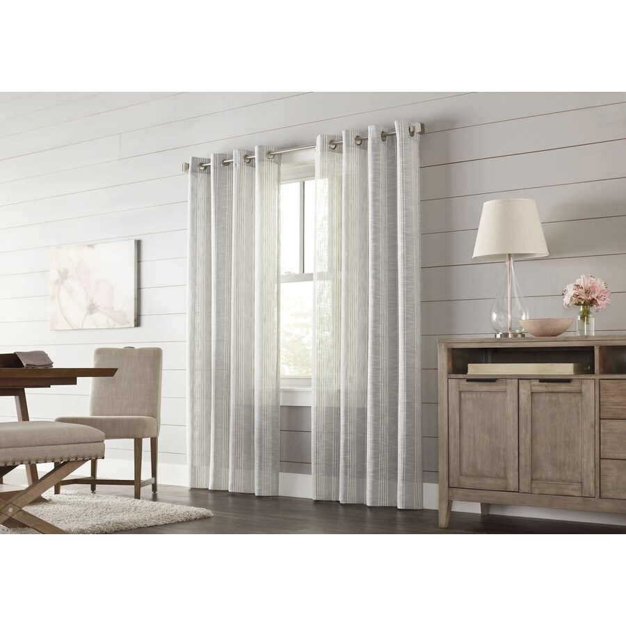 allen + roth Timblin 63-in Graphite Polyester Grommet Light Filtering Single Curtain Panel