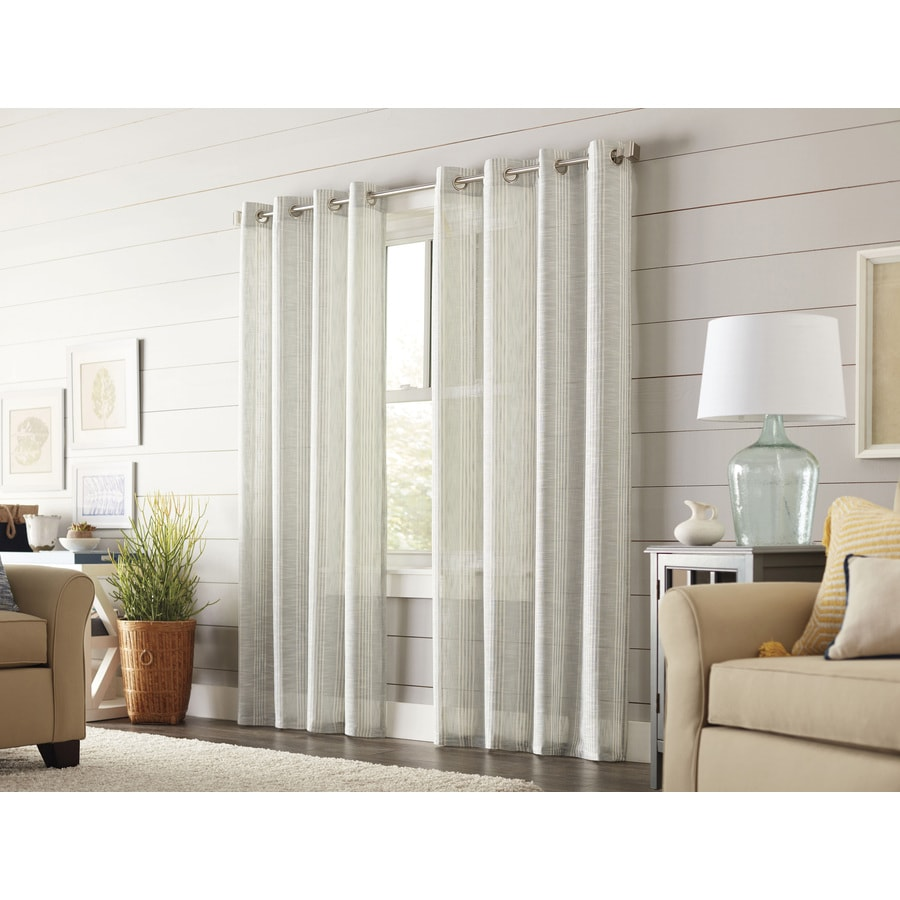 allen + roth Timblin 84-in Haze Polyester Grommet Light Filtering Single Curtain Panel