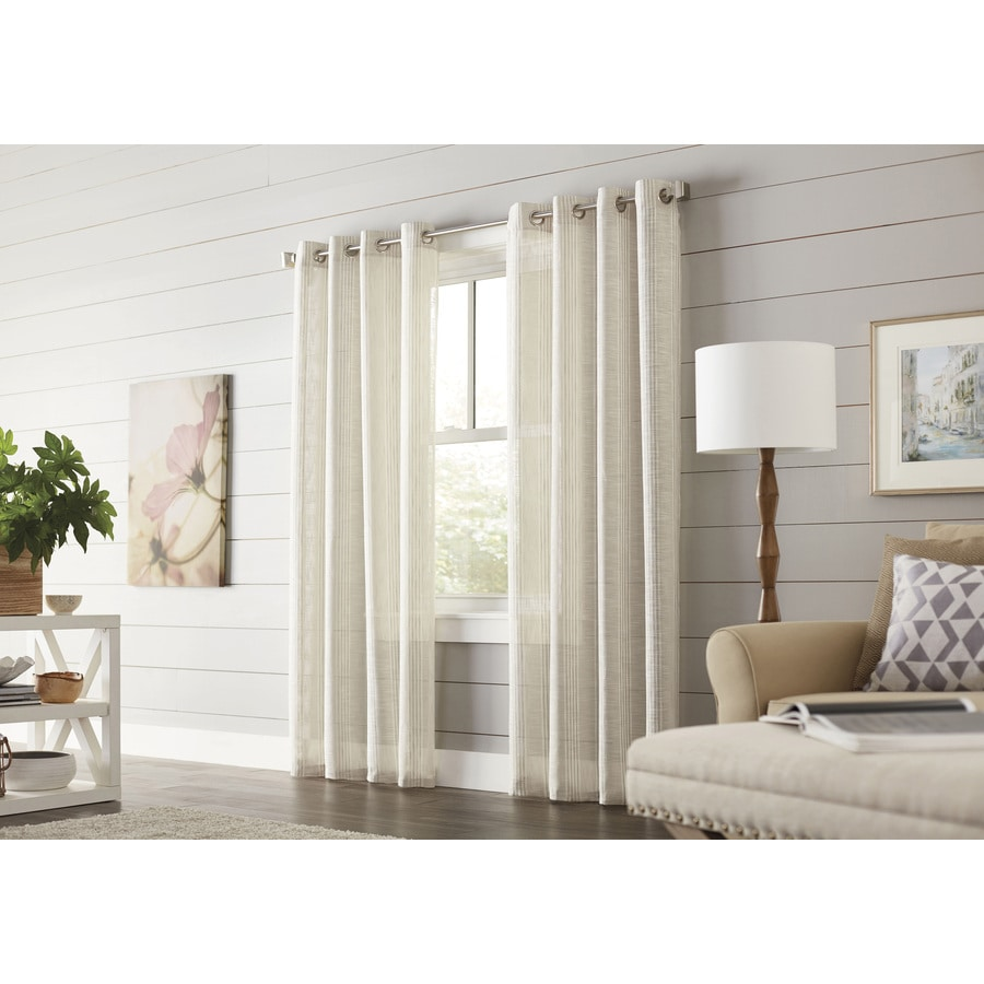 allen + roth Timblin 95-in Cobblestone Polyester Grommet Light Filtering Single Curtain Panel