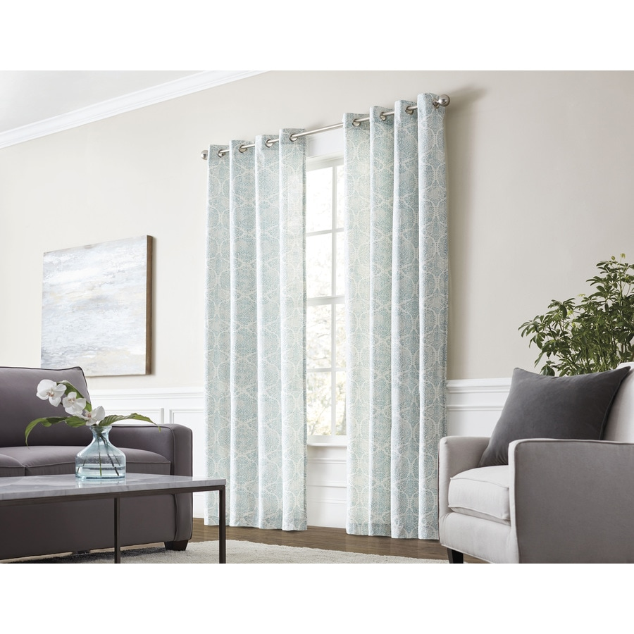Allen Roth Lapeer 84 In Seaglass Cotton Grommet Light Filtering Single Curtain Panel