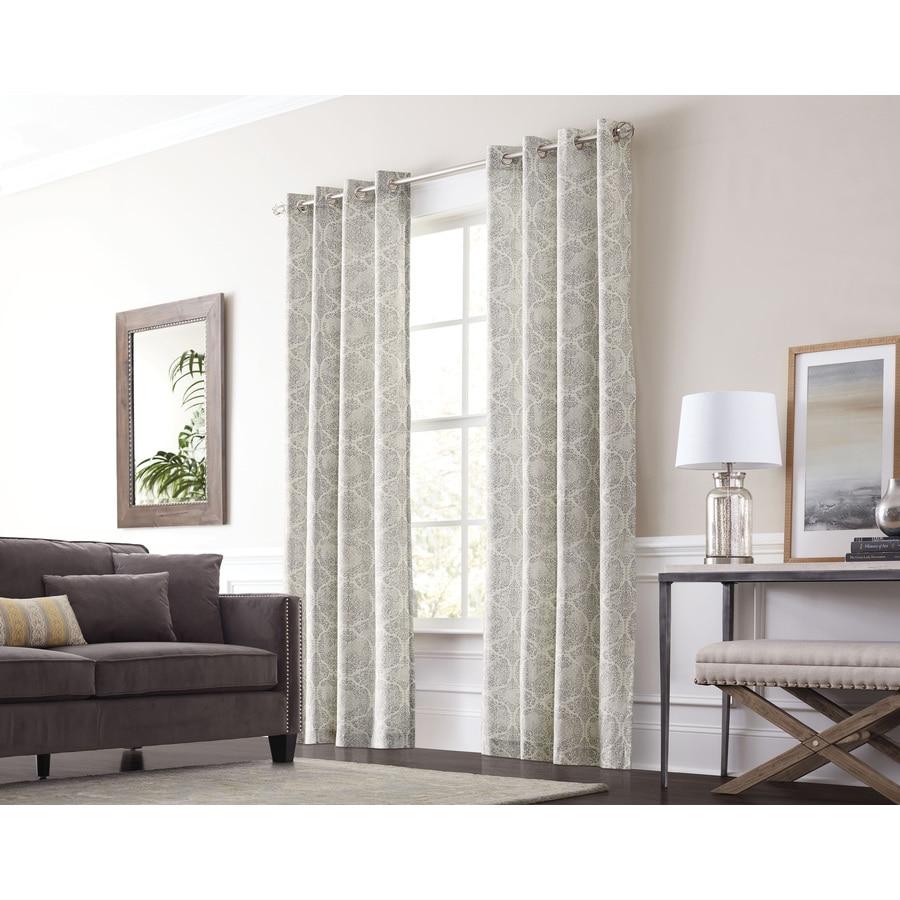 allen + roth Lapeer 84-in Graphite Cotton Grommet Light Filtering Single Curtain Panel