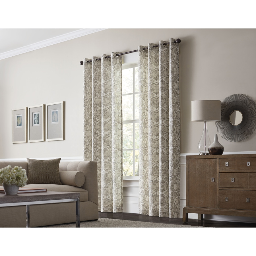 Allen Roth Lapeer 84 In Shore Cotton Grommet Light Filtering Single Curtain Panel