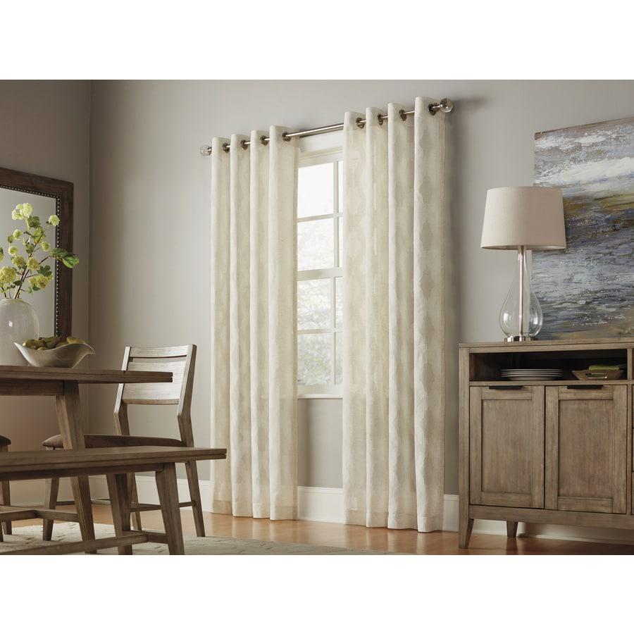 allen + roth Breesport 63-in Linen Polyester Grommet Light Filtering Semi-Sheer Single Curtain Panel