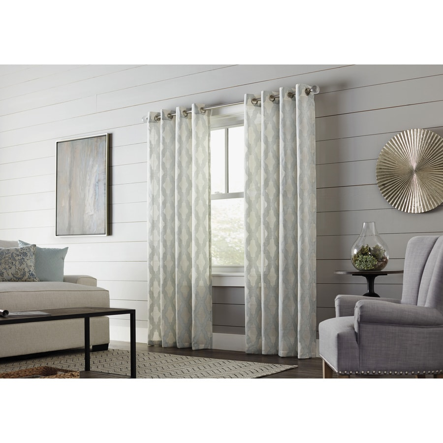allen   roth Breesport 63 in Mineral Polyester Grommet Semi Sheer Single  Curtain Panel. Shop allen   roth Breesport 63 in Mineral Polyester Grommet Semi