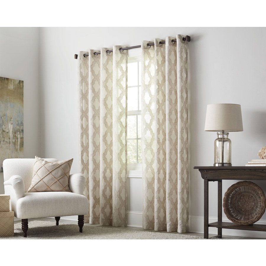 Shop allen roth breesport 95 in oat polyester grommet for Grommet curtains with sheers