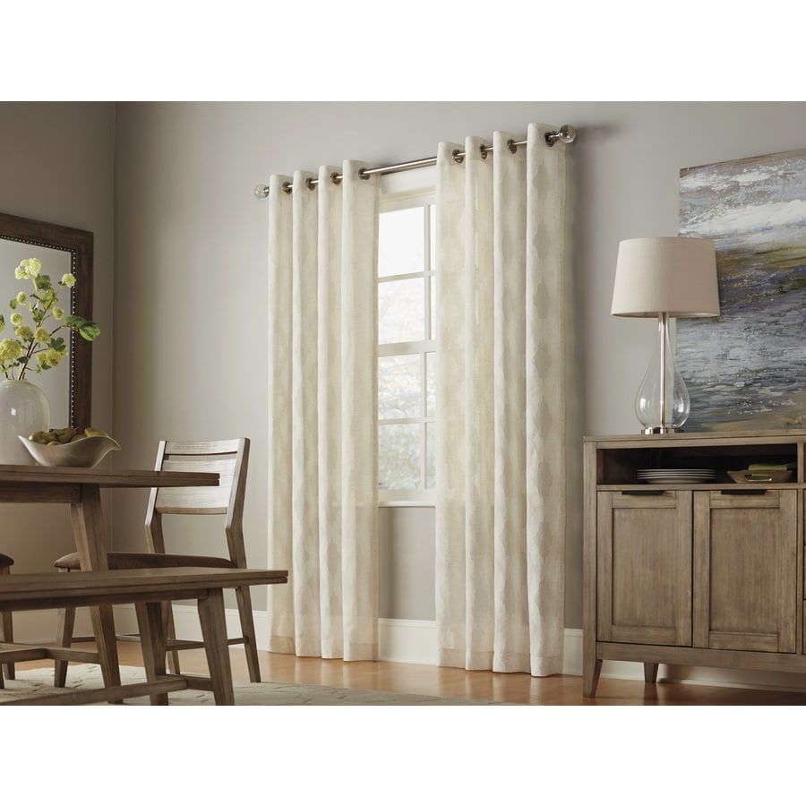 allen + roth Breesport 95-in Linen Polyester Grommet Light Filtering Semi-Sheer Single Curtain Panel