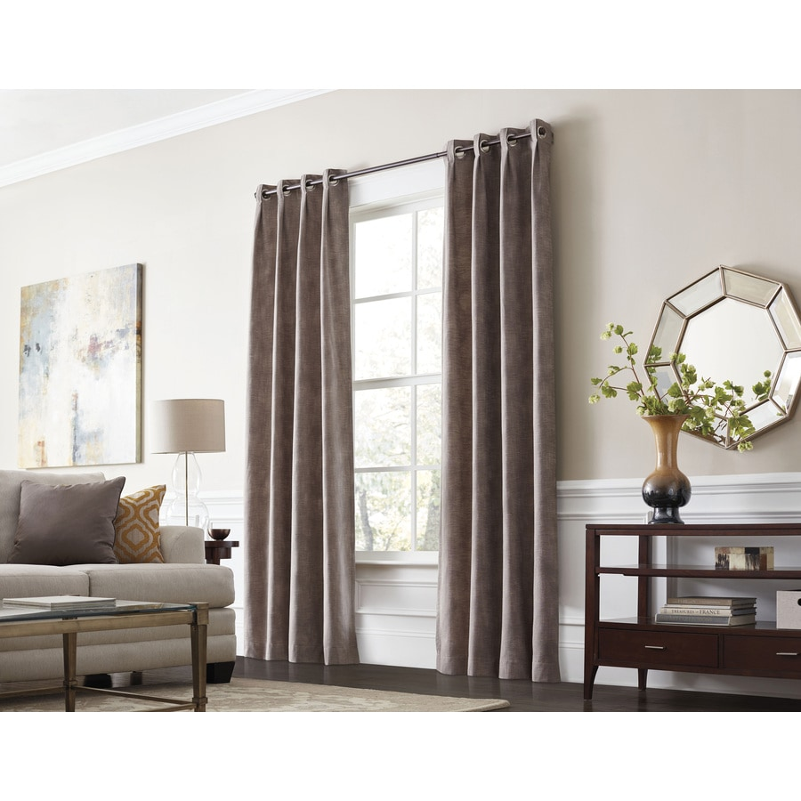 allen + roth Winbourne 63-in Sand Polyester Grommet Room Darkening Thermal Lined Single Curtain Panel
