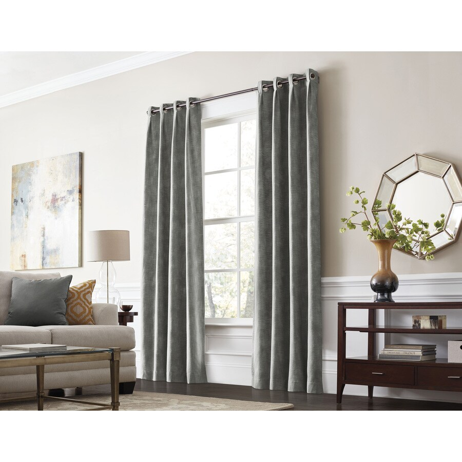 allen + roth Winbourne 63-in Gray Polyester Grommet Room Darkening Thermal Lined Single Curtain Panel
