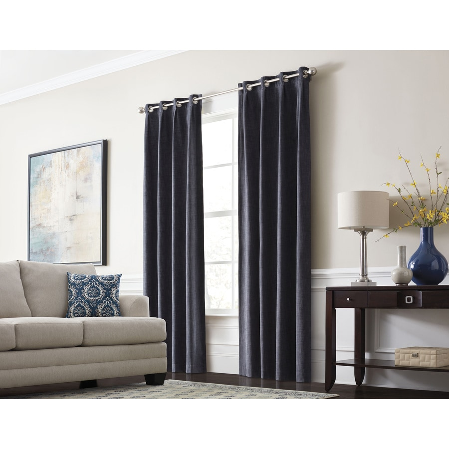 allen + roth Winbourne 63-in Ocean Polyester Grommet Room Darkening Thermal Lined Single Curtain Panel