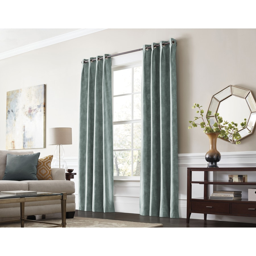 Shop allen roth winbourne 84 in mineral polyester Dark curtains small room