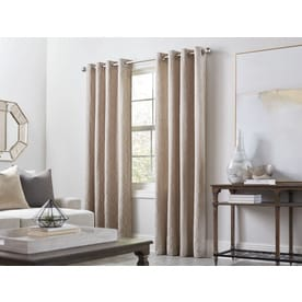 allen + roth Keldgate 84-in Oat Polyester Grommet Light Filtering Single Curtain Panel