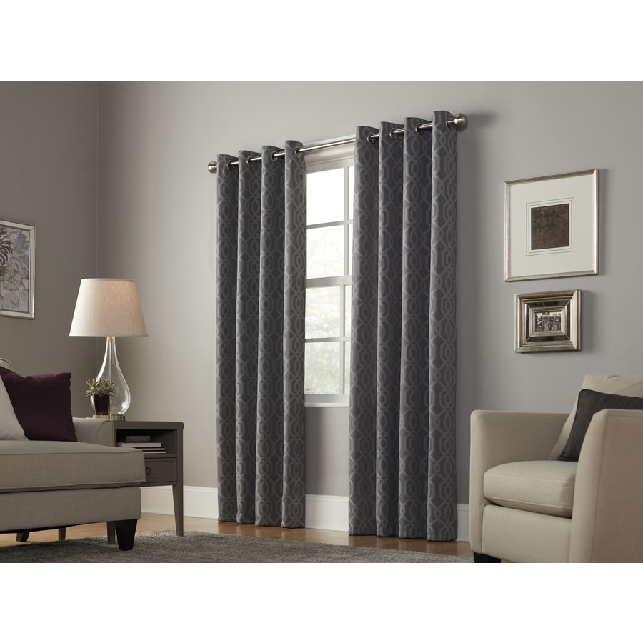 allen + roth Keldgate 95-in Graphite Polyester Grommet Light Filtering Single Curtain Panel