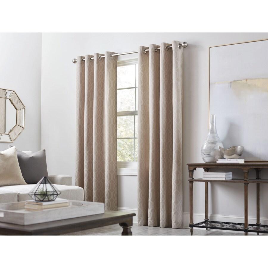 allen + roth Keldgate 95-in Oat Polyester Grommet Light Filtering Single Curtain Panel