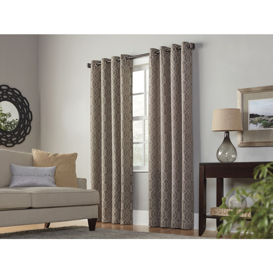 allen + roth Keldgate 95-in Cobblestone Polyester Grommet Light Filtering Single Curtain Panel