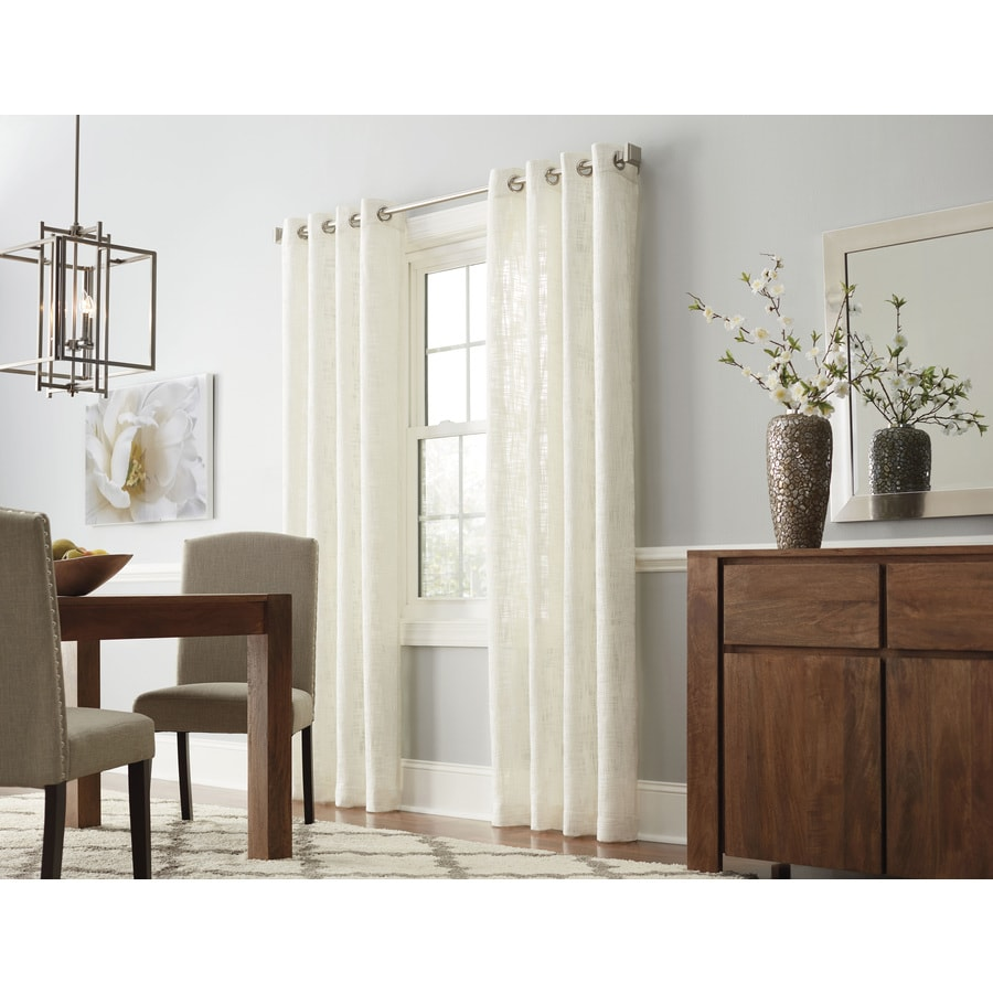 allen + roth Amesmore 63-in Natural Polyester Grommet Light Filtering Single Curtain Panel