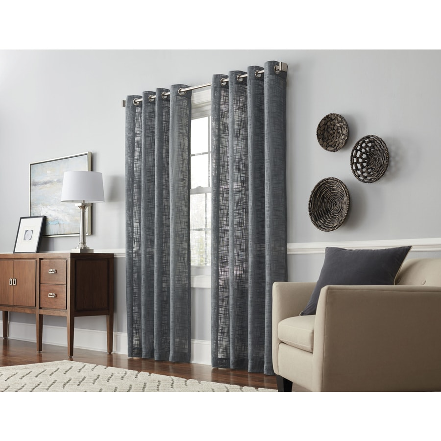 allen + roth Swept Away 84-in Gray Polyester Grommet Light Filtering Single Curtain Panel