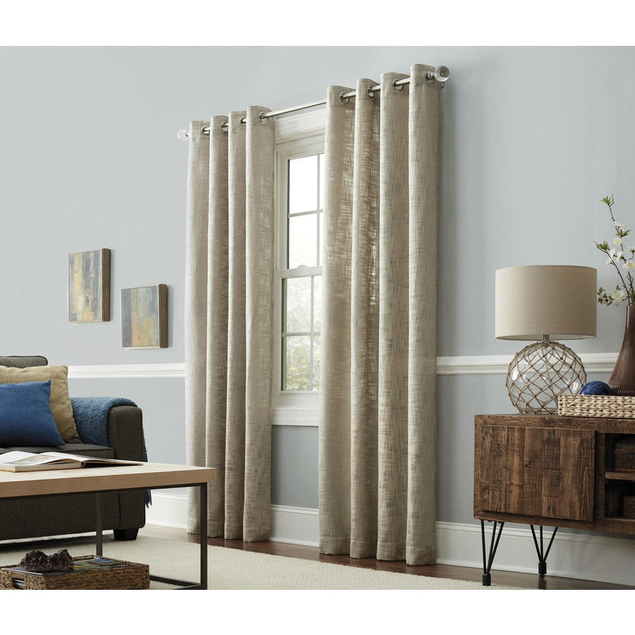 allen + roth Amesmore 95-in Linen Polyester Grommet Light Filtering Single Curtain Panel