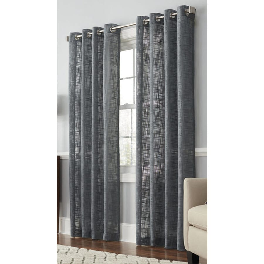 allen + roth Amesmore 95-in Gray Polyester Grommet Light Filtering Single Curtain Panel