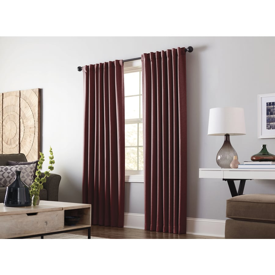 allen + roth Gatton 95-in Barn Red Polyester Back Tab Room Darkening Thermal Lined Single Curtain Panel