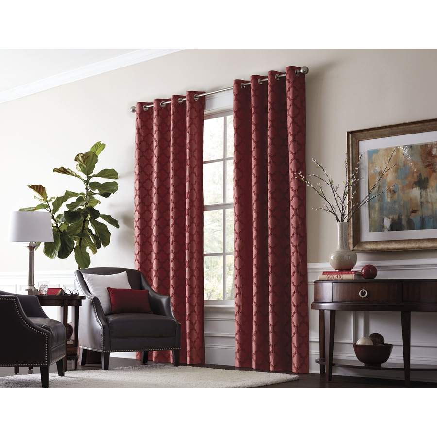 allen + roth Drenham 63-in Barn Red Polyester Grommet Room Darkening Thermal Lined Single Curtain Panel