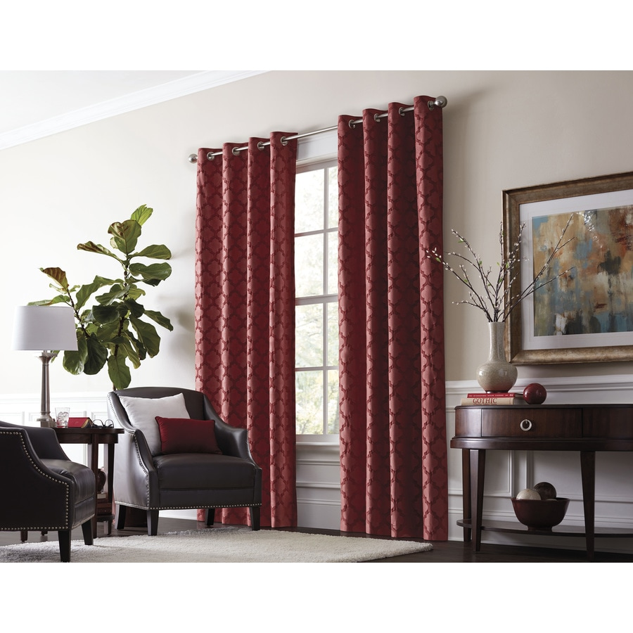 Delightful Allen + Roth Drenham Barn Red Polyester Grommet Room Darkening Thermal  Lined Single Curtain Panel Within Allen Roth Curtains