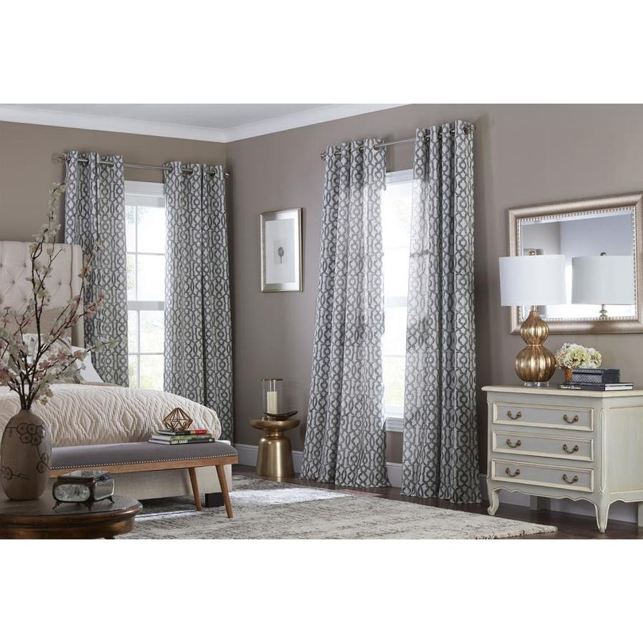 allen + roth Wrenbury 95-in Charcoal Polyester Grommet Light Filtering Single Curtain Panel