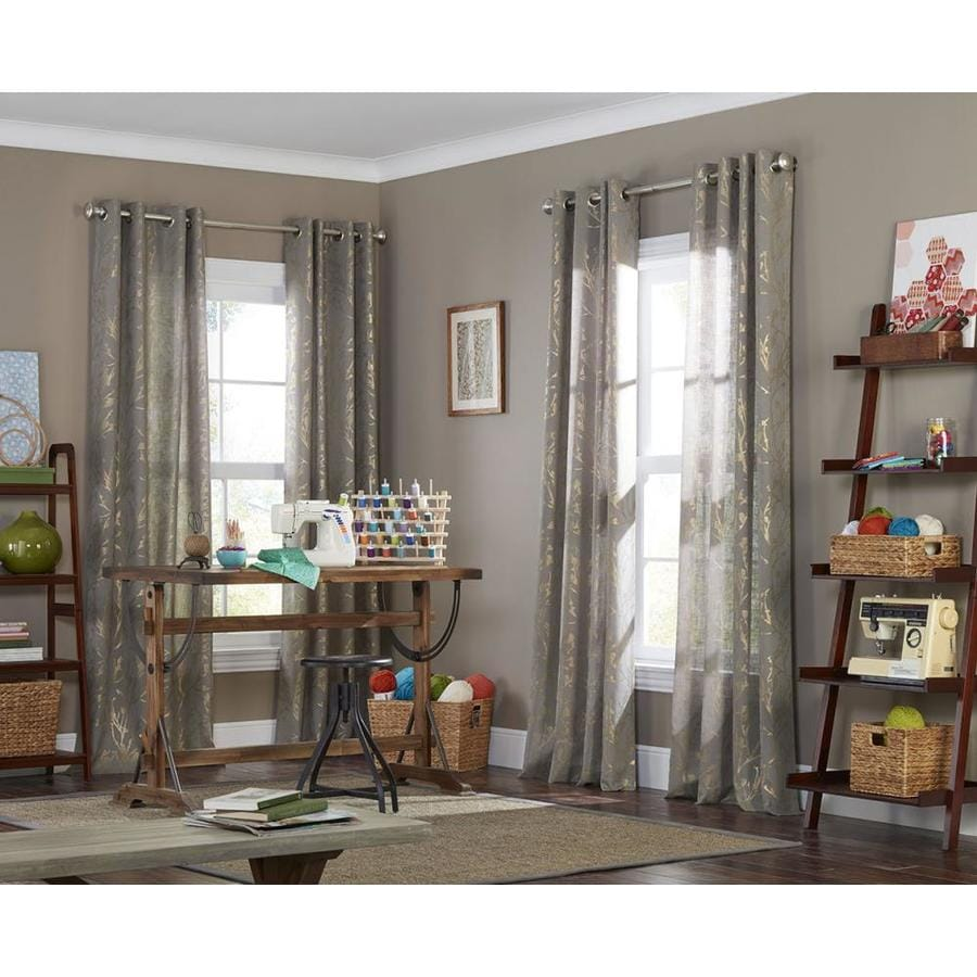 allen + roth Quinta 63-in Gray Polyester Grommet Semi-Sheer Single Curtain Panel